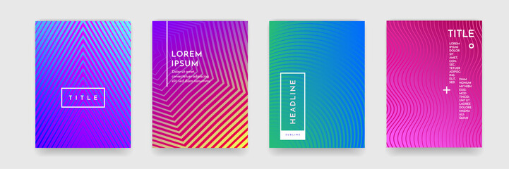 Abstract gradient color pattern texture for book cover template vector set