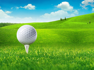 Golf ball and tee on green grass field