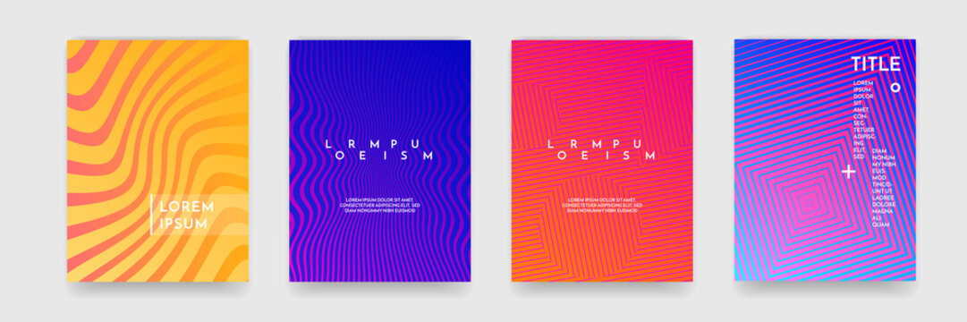 Book cover template wavy abstract pattern texture cover vector set