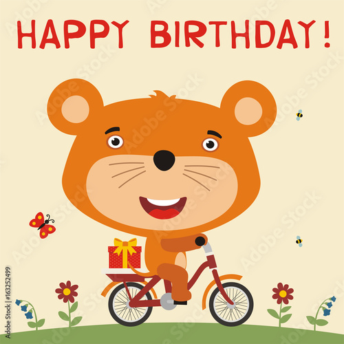 Happy Birthday Cute Mouse Rides On Bike With Birthday Gift Card