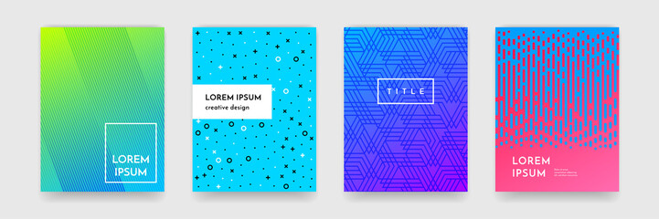 Abstract gradient color pattern texture for book cover template vector set Wall mural