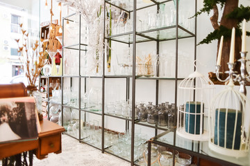 Beautiful flower shop with wedding decorations