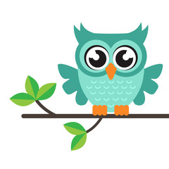 cartoon owl vector on a branch
