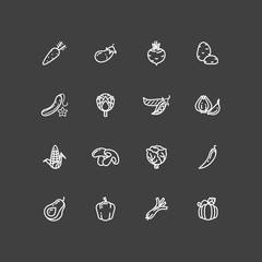 White vegetables outline icons set