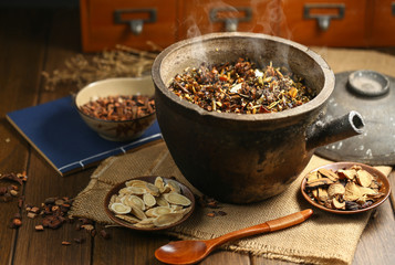 Chinese traditional herbal medicine in casserole