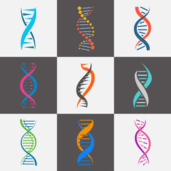 DNA strand icon flat set