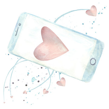 Connect with your love ones through modern technologies concept with watercolor smart phone and hearts attached to it