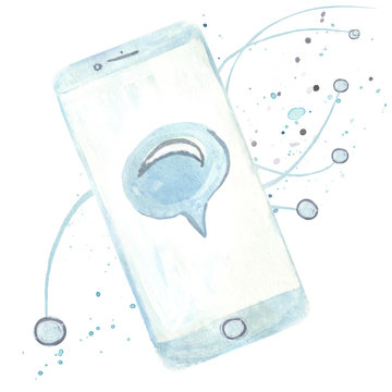 watercolor smart phone with talking bubble