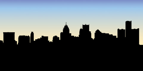 Skyline silhouette of the city of Detroit, Michigan, USA.