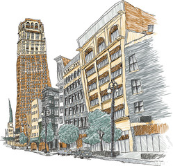 Illustration of the main street of Woodward Avenue in the city of Detroit, Michigan, USA.
