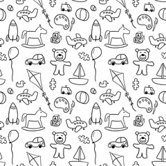 Toys texture - seamless doodle art