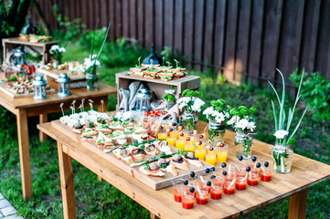 Poster Buffet, Bar Beautiful catering banquet buffet table decorated in rustic style in the garden. Different snacks, sandwiches and cocktails. Outdoor.