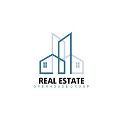 Logo template real estate, apartment, condo, house, rental, business. brand, branding, logotype, company, corporate, identity. Clean, modern and elegant style design.