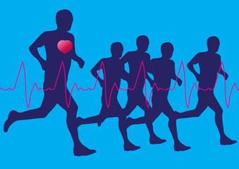 Running marathon, people run, dark poster. Vector illustration