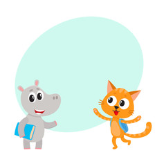 Cute animal student characters, bear with bunch of flowers, cat with backpack, cartoon vector illustration with space for text. Little animal student characters, back to school concept