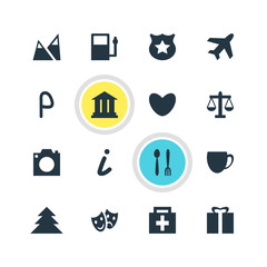 Vector Illustration Of 16 Travel Icons. Editable Pack Of Landscape, Map Information, Coffee Shop Elements.