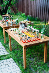 Beautiful catering banquet buffet table decorated in rustic style in the garden. Different snacks, sandwiches and cocktails. Outdoor, two tables with food under the tree. Vertical photo.