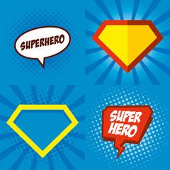 Superhero logo, pop art background