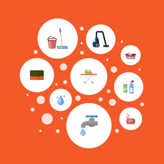 Flat Icons Means For Cleaning, Foam, Faucet And Other Vector Elements. Set Of Cleaning Flat Icons Symbols Also Includes Besom, Means, Vacuum Objects.