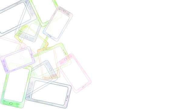 border pf abstract bunch of watercolor smart phones