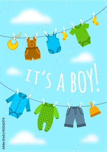 Its a boy cartoon cute greeting card baby shower party invitation its a boy cartoon cute greeting card baby shower party invitation vertical cover vector m4hsunfo