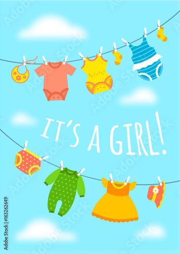 Its a girl cartoon cute greeting card baby shower party invitation its a girl cartoon cute greeting card baby shower party invitation vertical cover vector m4hsunfo