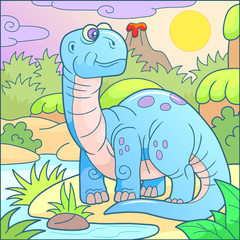 Funny cute brontosaurus cartoon illustration