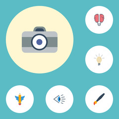 Flat Icons Photo, Wings, Concept And Other Vector Elements. Set Of Original Flat Icons Symbols Also Includes Concept, Idea, Look Objects.