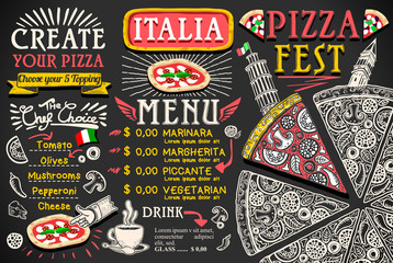 Pizza Menu Italian Food Vector Design
