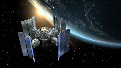 3D Illustration of a space station satellite flying over Earth with reflective solar panels and an interchangeable modular structure.