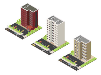 Big set Vector isometric illustration city street house facades landscape.