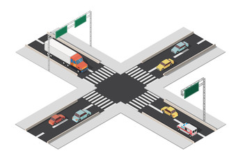 Isomertic city intersection road markings vector illustration.