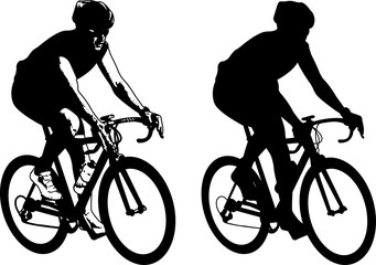bicyclist sketch illustration and silhouette - vector