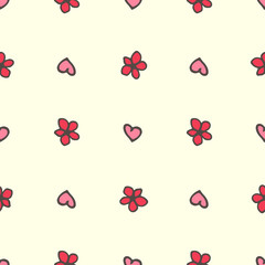 Sweet hearts and flowers seamless pattern