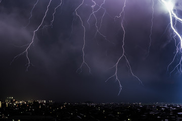 Lightning over City landscape