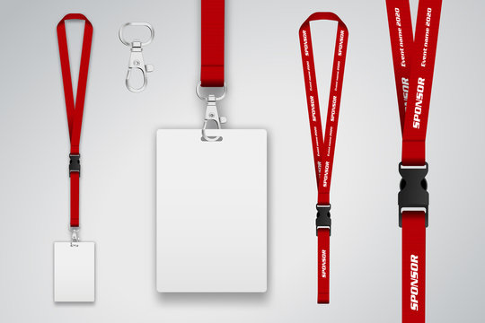 Set of lanyard and badge. Template for presentation of their design. Realistic vector illustration.