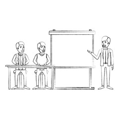 blurred silhouette couple of man sitting in a desk for executive orator in presentacion business people vector illustration