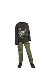 Empty clothes. Boy wearing a dinosaurs black shirt and green pants.