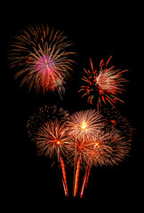 beautiful colorful firework isolated display for celebration happy new year and merry christmas on black isolated background, fireworks father day