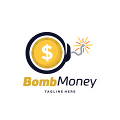 Bomb Money Logo Template Design Vector, Emblem, Design Concept, Creative Symbol, Icon