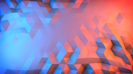 Low poly gradient surface abstract 3D render