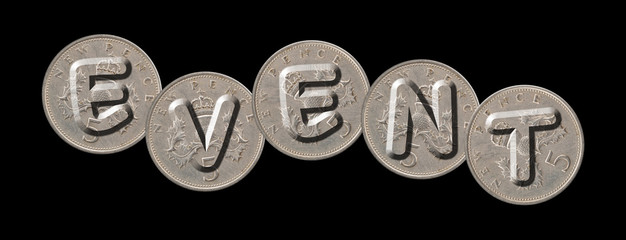EVENT – Coins on black background