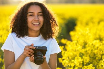 Beautiful Mixed Race African American Girl Teenager Using Camera Wall mural