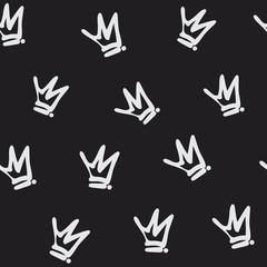 Hand drawn crown graffiti style seamless pattern. Isolated on black background. Texture for print, textile, t-shirt, fabric, wallpaper, card , poster, home decor, packaging, and wrapping paper.