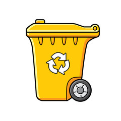 Yellow wheelie trash bin icon isolated, garbage recycling symbol.
