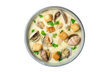 Bowl of clam chowder soup, overhead shot, isolated