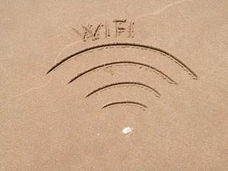 Wifi symbol on the sand