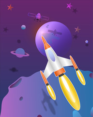 Space rocket flying  in the universe cute  art vector paper art  illustration