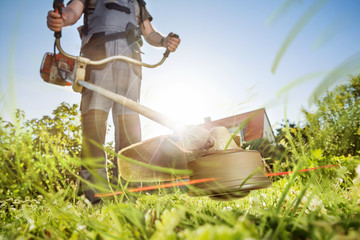 Gartenarbeit mit der Motorsense