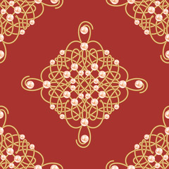 Elegant golden knot sign. Red and golden seamless pattern, beautiful calligraphic flourish with pearls. Vector